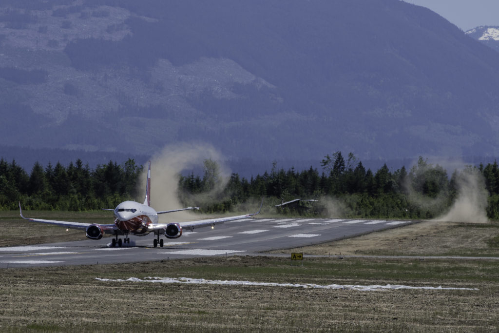 The first Fireliner touches down at Alberni Valley Regional Airport.