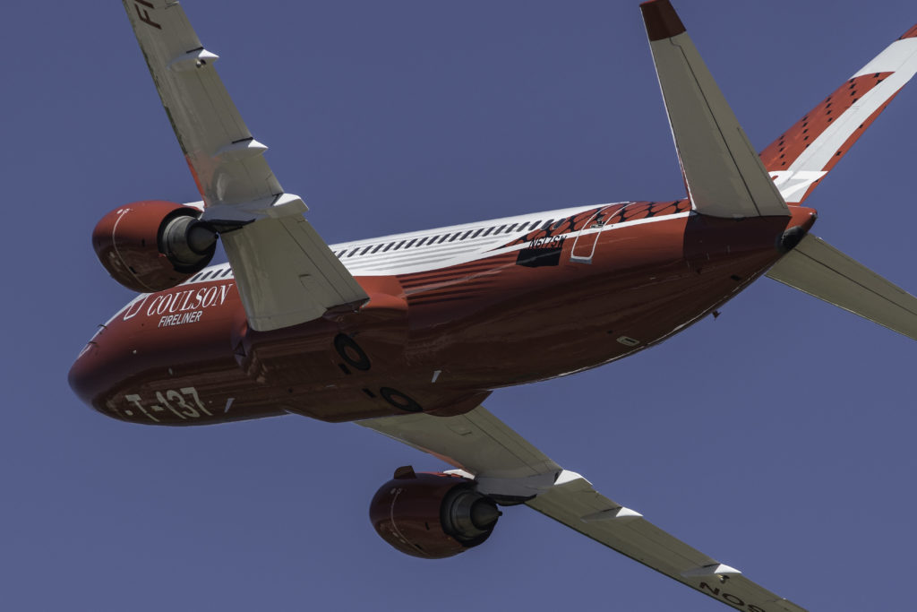 View of belly of Fireliner as it flies.