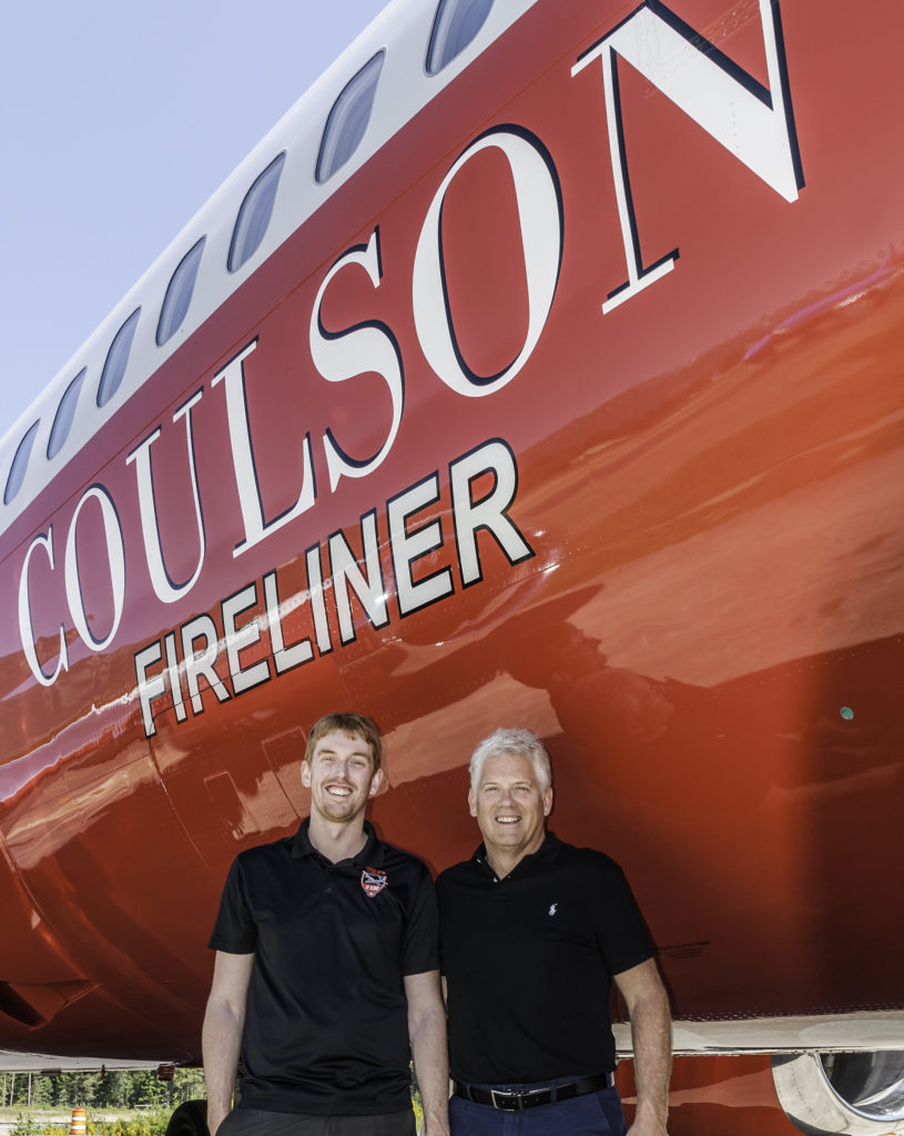 Britton, left, and Wayne Coulson of Coulson Aviation stand with the Fireliner.