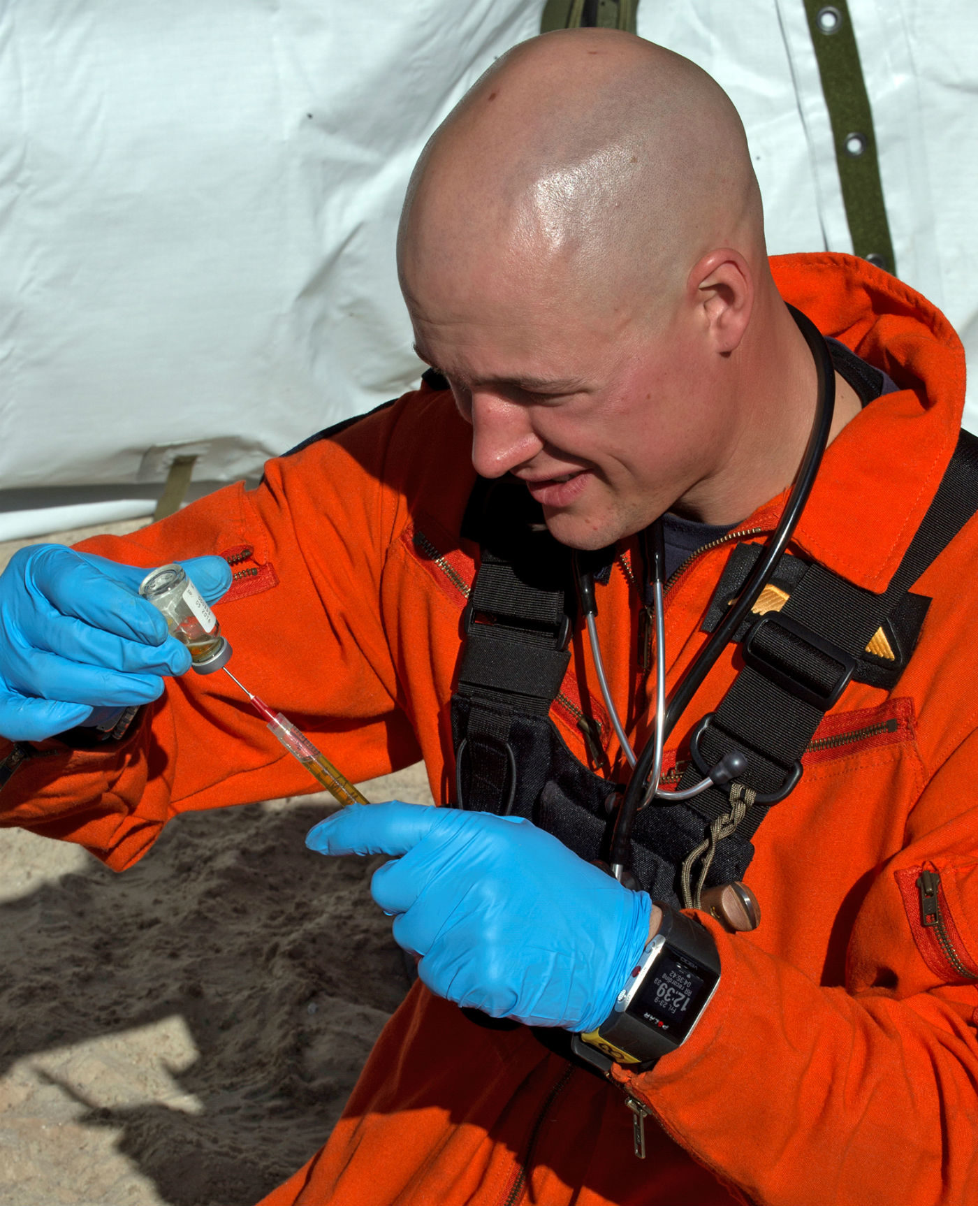 MCpl Alfred Barr, a SAR technician from 435 Search and Rescue Squadron, prepares to treat a simulated casualty during the National Search and Rescue Exercise in Yellowknife, N.W.T, on Sept. 23, 2016. Barr died in a training accident on March 8, 2017. MCpl Pat Blanchard Photo