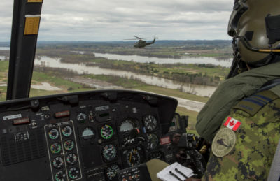 Three CH-146 Griffons from 430 Tactical Helicopter Squadron at Valcartier Base, Que., are deployed as part of the Quebec Immediate Action for Operation LENTUS on May 9, 2017. RCAF Photos