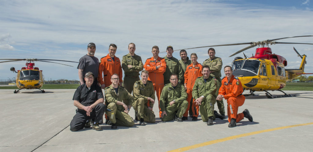 Pictured here are the members of the three 424 Transport and Rescue Squadron search and rescue (SAR) crews and support staff that took part in the Algonquin Park SAR effort from May 8 to 9, 2017. RCAf Photo