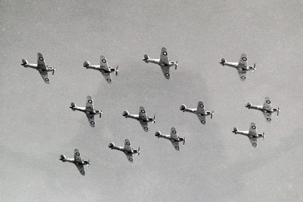 A formation of 12 Hurricane fighters from No. 1 OTU, summer 1943. Bagotville Air Defence Museum Photo