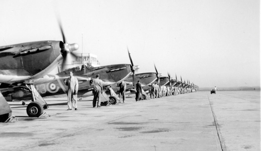 No. 1 OTU's flight line in the fall of 1943. Bagotville Air Defence Museum Photo