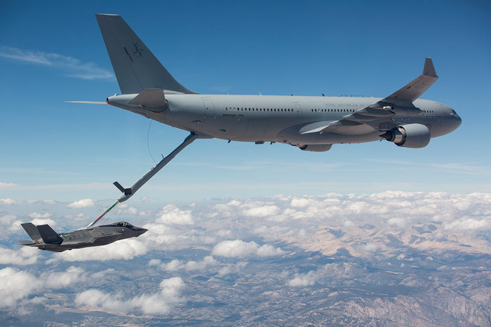 Airbus Defence and Space promoted its A330 multirole tanker transport (MRTT), a variant of the A330-200 airframe, with an astounding 111 tonnes of fuel capacity and a payload of up to 45 tonnes, which can be configured for up 300 passengers, 130 stretchers, or 37 tonnes of cargo. Airbus Photo
