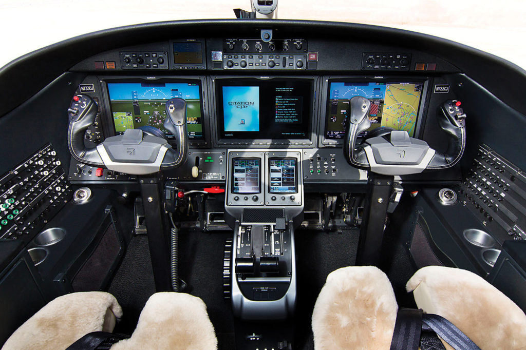 The M2 and CJ3+ (shown here) both feature the Garmin G3000 avionics suite; however, the CJ3+ has some different equipment owing to its certification in the FAA Part 23 Commuter category.