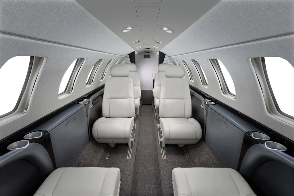 The CJ3+ offers over eight feet more fuselage than the M2, which translates into two more seats. That brings the capacity to a single pilot plus nine passengers.