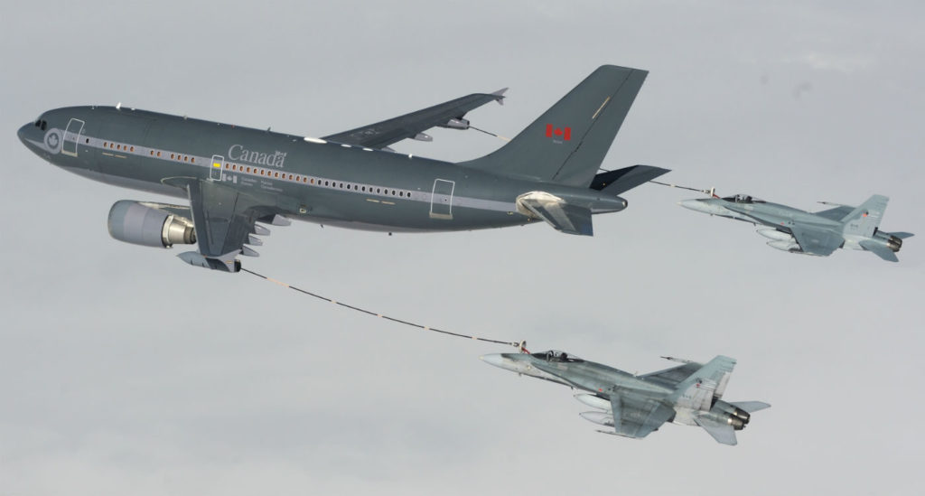 Two of the RCAF's CC-150 Polaris aircraft were converted to tankers in 2008 to support the CF-188 Hornet fighter jets. All five of the RCAF's fleet have been operating at a high tempo in recent years and are expected to reach the end of their service life by about 2026, around the same time the Air Force hopes to take delivery of the eventual replacement for the Hornet fleet. Cpl Vic Lefrancois Photo