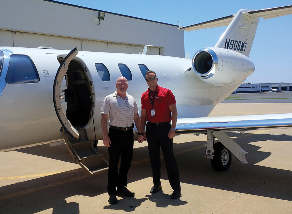 The duo prepares to fly the Citation M2.