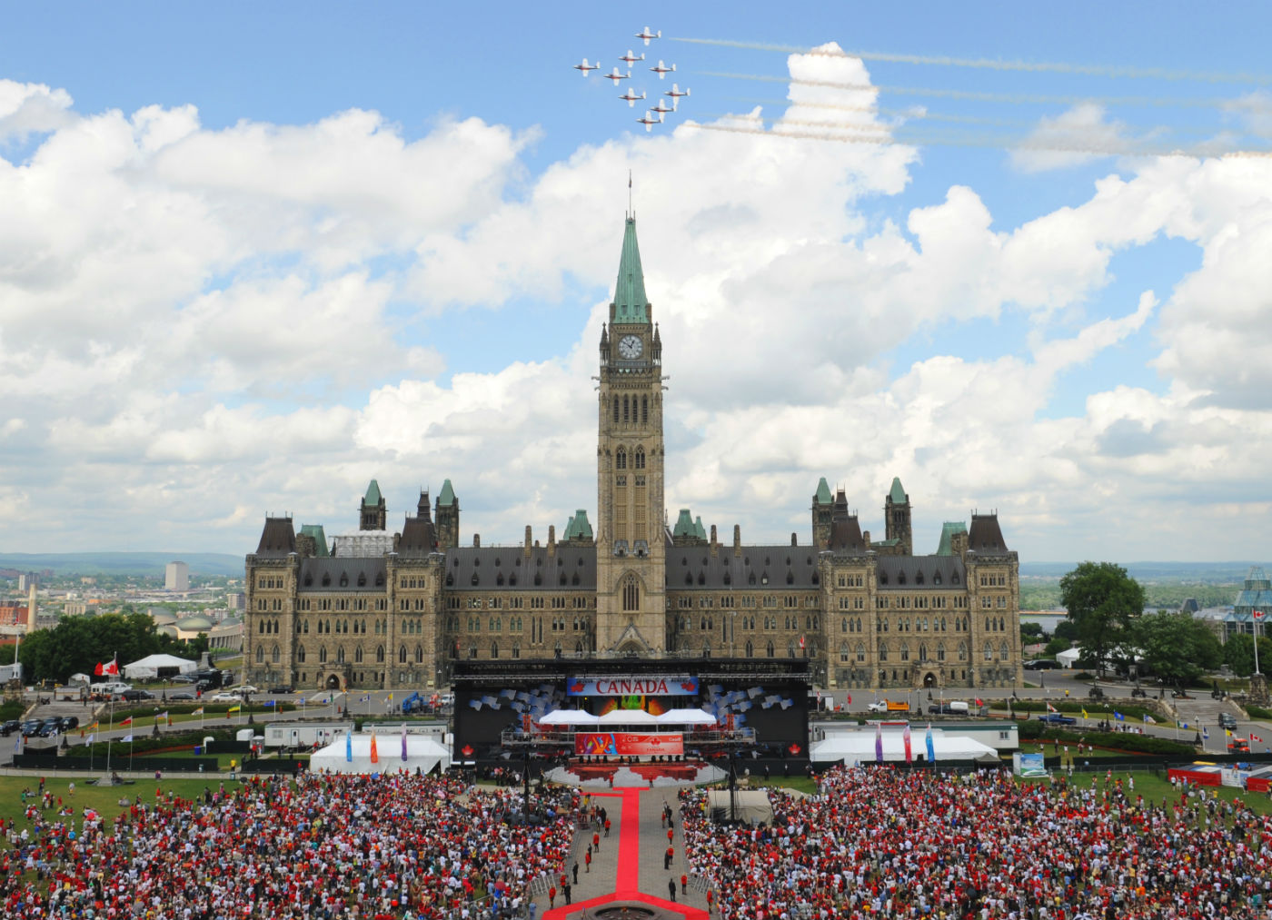 Every year, thousands of Canadians make their way to the nation's capital to celebrate Canada's birthday. Here, the Snowbirds conduct a flypast over Parliament Hill on July 1, 2009. MCpl Angela Abbey Photo