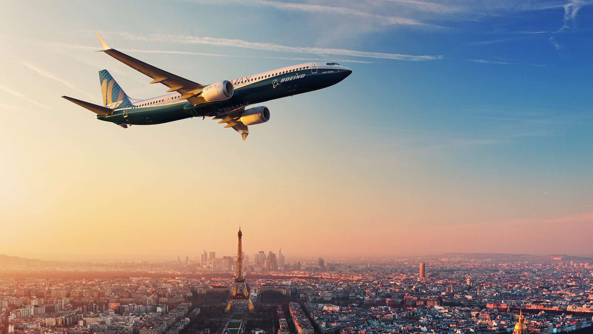 737 MAX 10 in flight over Paris (artist's rendering, not a photo)