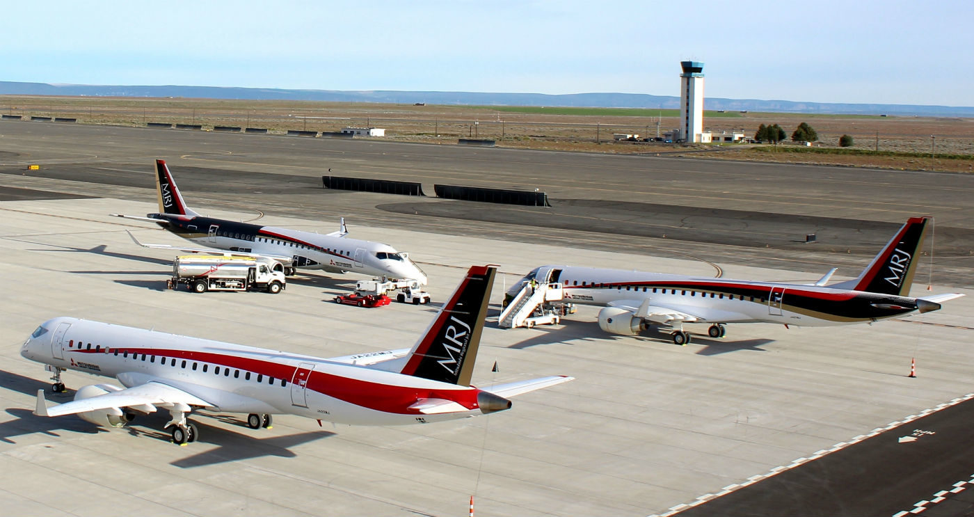The MRJ -70 and MRJ -90 will each be powered by two PW1200G engines. The engine was optimized specifically for the MRJ program, which in turn designed the wing and aerodynamics with the PW1200G in mind. Pratt & Whitney Photo