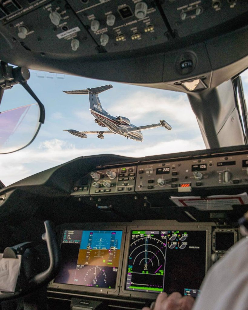 From the cockpit: An Air Canada Boeing 787 closes formation in on Wolfe Air's Lear 25 during the filming of a promo video of the 787 over the B.C. coastline. Specializing in air-to-air cinematography, Wolfe Air equips its aircraft with state-of-the-art camera systems, which are housed in the pod hanging below the left wing. Photo submitted by Rammy Fong