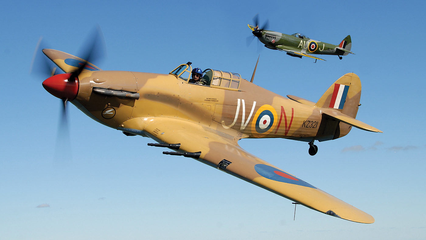 "The Flight Lieutenant ""Bunny"" McLarty Hawker Hurricane in 6 Squadron RAF markings is the only flying example of an Mk IV Hurricane in the world. On the Hurricane's wing is Mike Potter in his beloved Supermarine Spitfire Mk XVI, dedicated to Flight Lieutenant William Harper of 421 Squadron, RCAF. Eric Dumigan Photo"