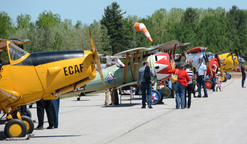 Although there is no flying aircraft located at Base Borden, or active runways, a temporary grass runway was marked out to allow several historic aircraft to land for a static display during the open house.