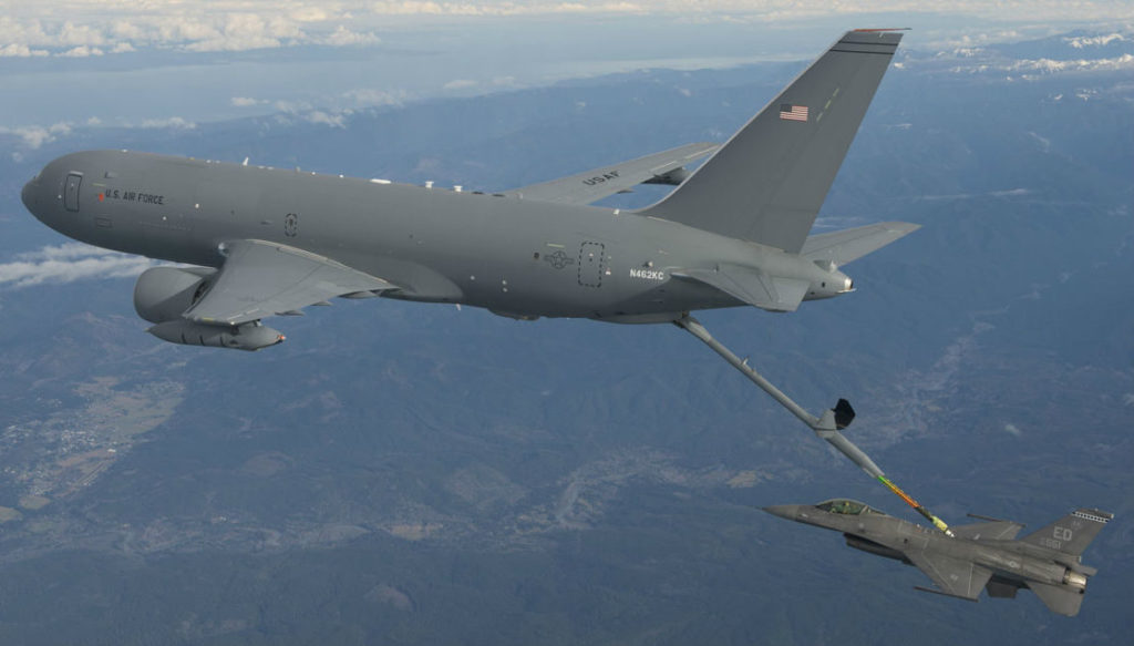 The U.S. Air Force (USAF) in February 2011 selected the KC-46 Pegasus, a derivative of the Boeing 767 commercial airliner, to replace the KC-135 Stratotanker, and is on track to take delivery of the first of 179 later this year. Six aircraft are currently conducting test flights, which are about 60 per cent complete, and another 20 are under construction. Boeing Photo
