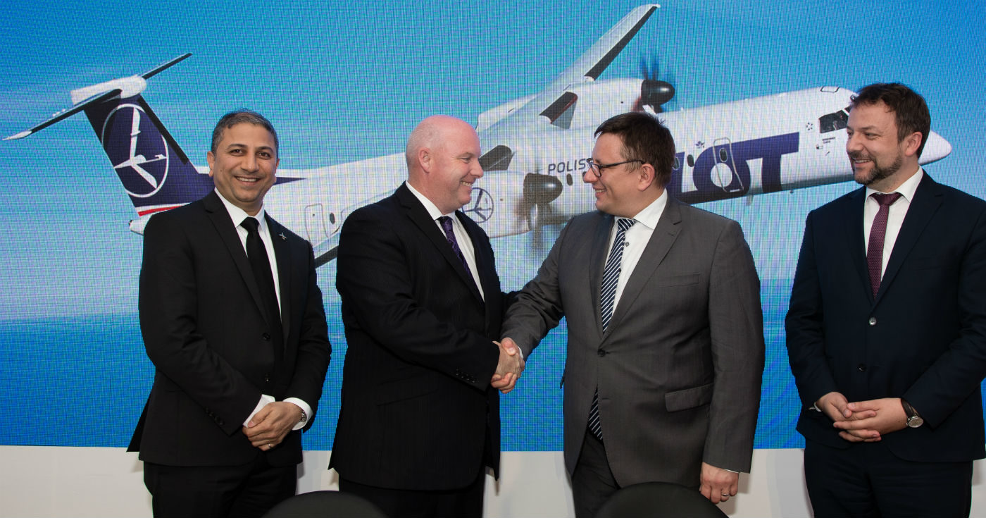 LOT Polish Airlines has signed a five-year Smart Parts agreement with Bombardier to provide long-term component management for the airline's fleet of 10 Q400 aircraft. Bombardier Photo
