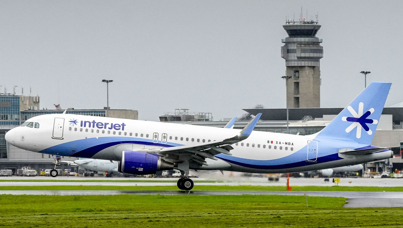 Interjet's Montreal services operate using Airbus A320 aircraft with 150 seats. Here, the aircraft lands in Montreal on July 13, 2017. Interjet Photo