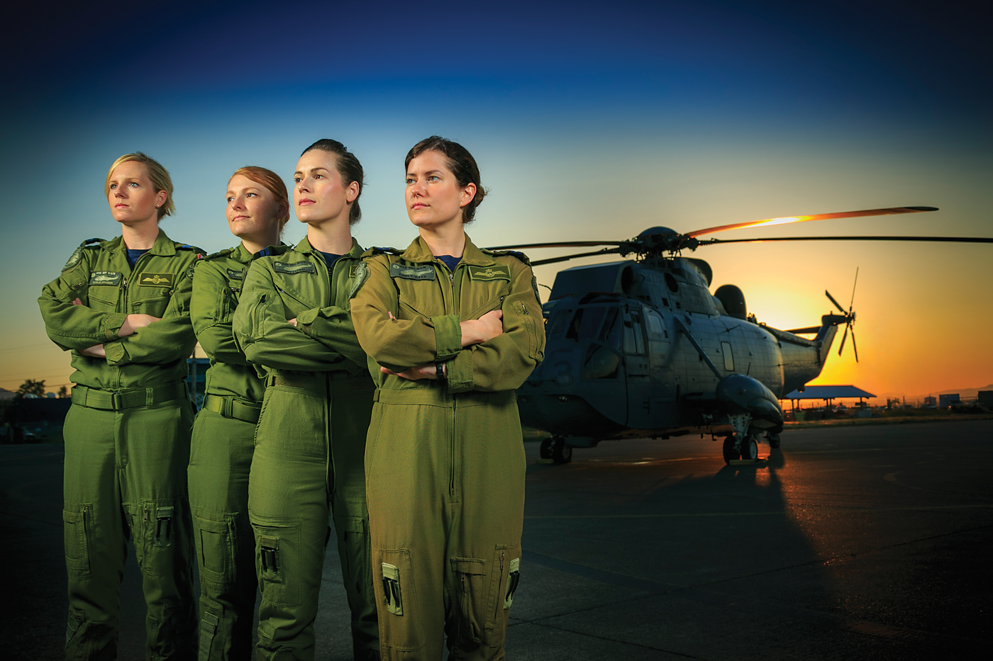 A crew from 443 Maritime Helicopter Squadron included, left to right, Sonja Hansen, Tanya Carr, Chelsey Llewellyn and Carly Cake. Heath Moffatt Photo