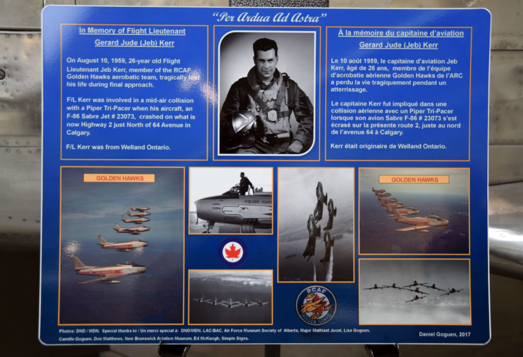 The plaque was unveiled beside the F-86 Sabre in the Air Force Museum of Alberta, located at The Military Museums in Calgary. The Military Museums Photos
