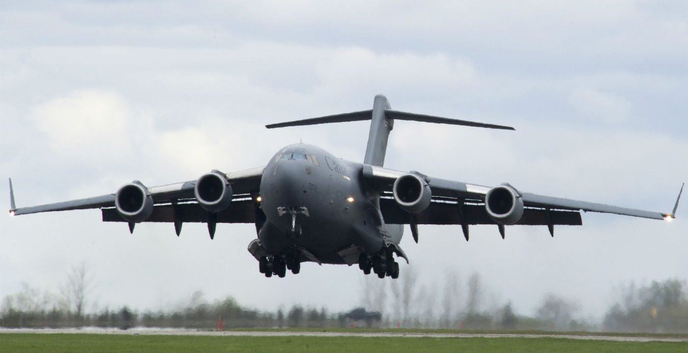 The Royal Canadian Air Force has deployed a CC-177 Globemaster III (pictured here), a CC-130J Hercules, two CH-147F Chinooks, and three CH-146 Griffons to British Columbia to support the wildfires operations. RCAF Photo