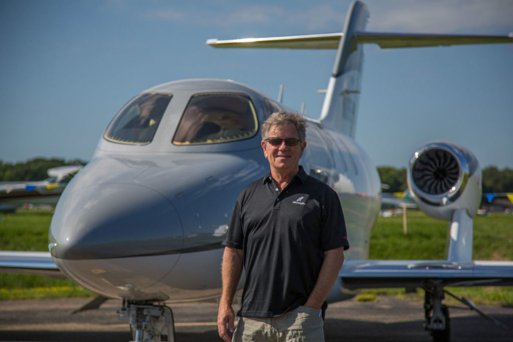 "Honda Aircraft's customers Julian (pictured here) and Kim MacQueen will fly their HondaJet to up to 26 countries as part of the tour, they have entitled ""Around the World in 80 Stays."" Honda Aircraft Photo"
