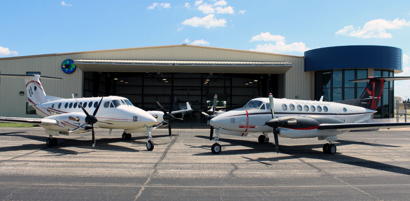 Blackhawk Modifications will exhibit an upgraded King Air 350 in its booth during EAA AirVenture, from July 24 to 30. Pictured here, Blackhawk's test King Air 350 and 350ER aircraft at its headquarters in Waco, Texas. Blackhawk Photo