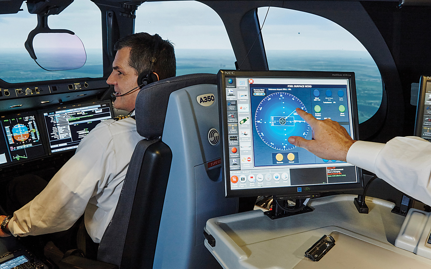 Founded in 1947 as an avionics repair company, Canadian Aviation Electronics by the 1980s was breaking new ground in flight simulation, an innovation that transformed both pilot training and flight safety. Shown here, the company's A350 full-flight simulator cockpit. Photos courtesy of CAE