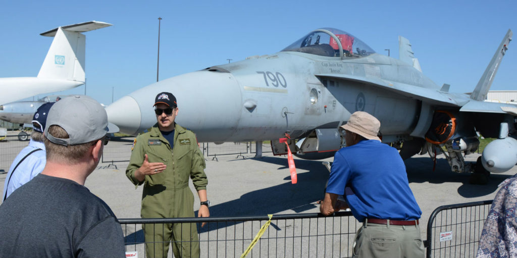 The non-flying event provided a relaxed atmosphere where spectators could tour several current military aircraft and talk to their crews. Two CF-188s from 433 Squadron Bagotville were on hand as well as a CF-188 cockpit display section for people to sit in. Eric Dumigan Photos