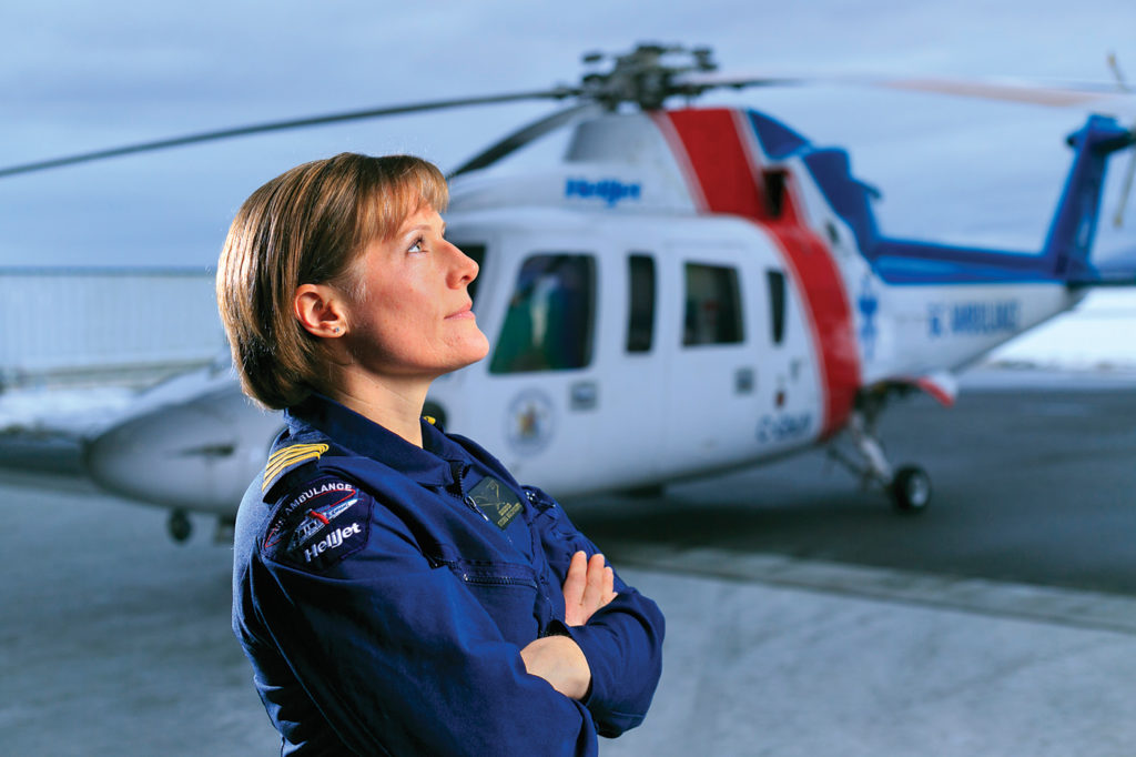 Angie Kovats, Helijet air ambulance Sikorsky S-76C+ pilot, in Vancouver. Heath Moffatt Photo
