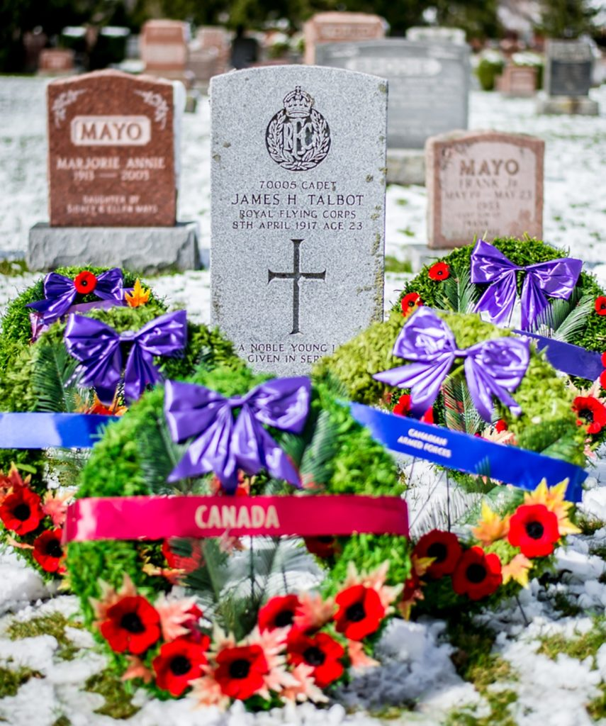 The burial site of Cadet James Talbot, the first casualty of military flying in Canada, at Dorchester Union Cemetery, in Dorchester Ont., on April 7, 2017
