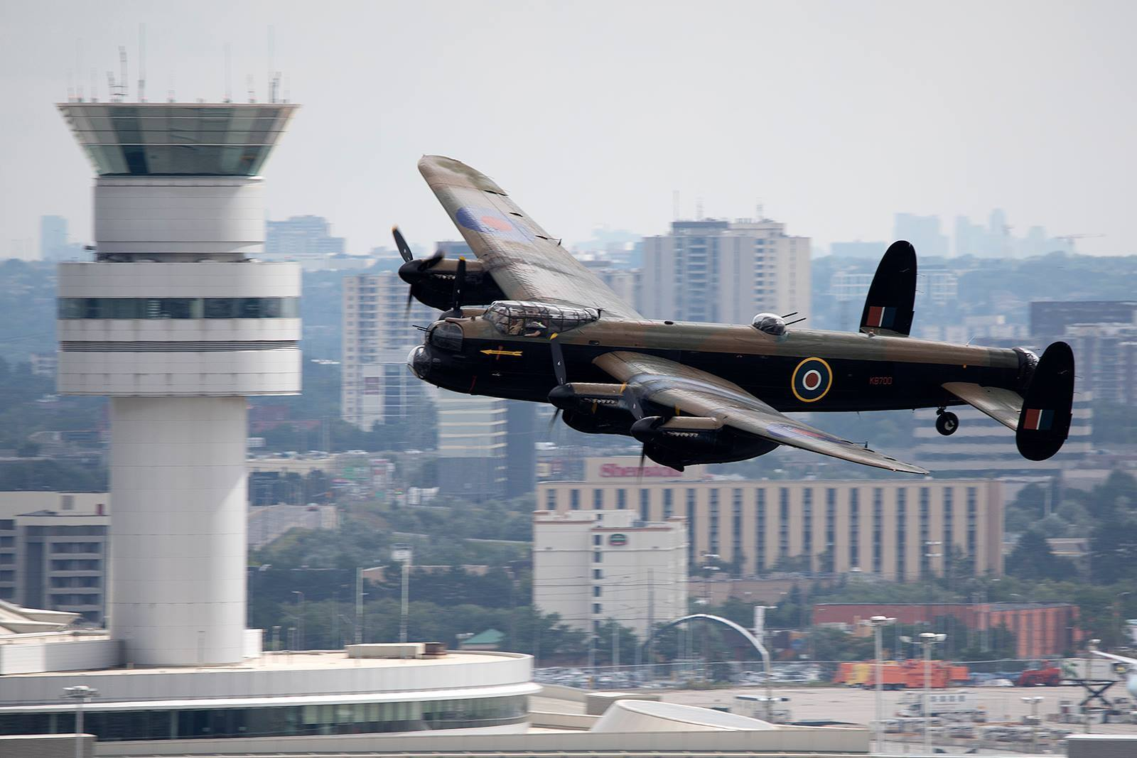 The Canadian Warplane Heritage Museum's Avro Lancaster bomber comes in for a low pass over Toronto Pearson International Airport. Photo submitted by David Brook