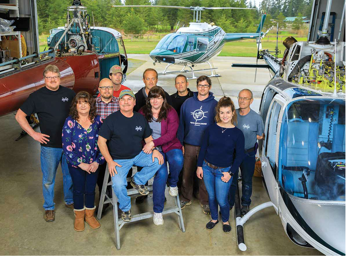 Hugh and Wendy Andrews sit in the Aero-Smith hangar on Vancouver Island, surrounded by their talented staff.