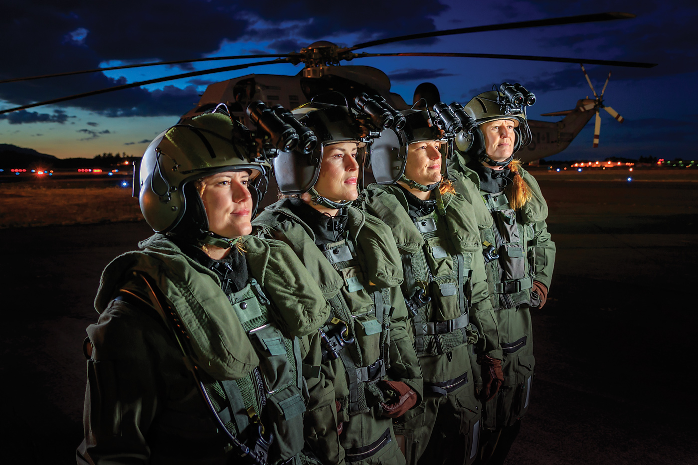 443 Maritime Helicopter Squadron members at Victoria International Airport, left to right: Carly Cake, Chelsey Llewellyn, Tanya Carr and Darlene Such. Heath Moffatt Photo