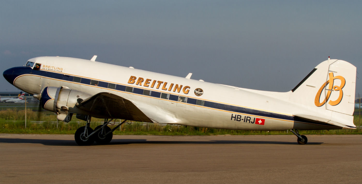 The DC-3 has an unmistakable, majestic nose high profile on the ground, as if it's reaching for the sky. It is unmistakably a classic airliner from the 1930s. The Breitling navy blue and gold colour scheme complements the aircraft`s lines very well, epitomizing its art deco shape.