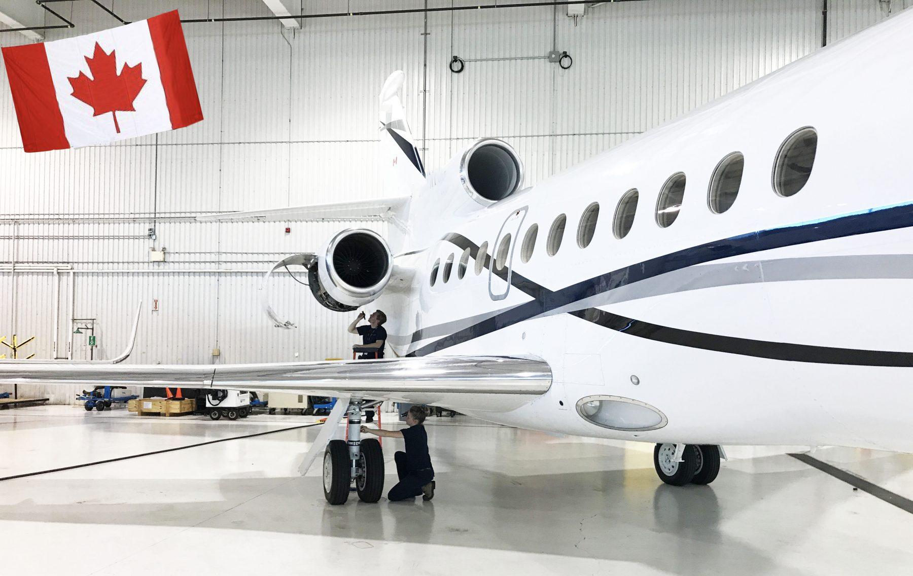 Dassault Falcon in hangar