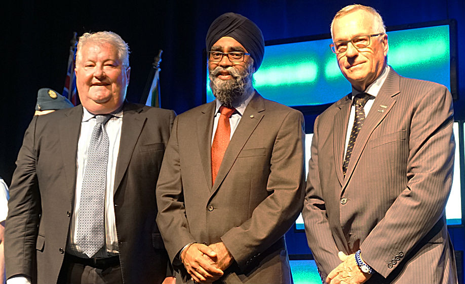 AIAC president Jim Quick, left, and CBAA president Rudy Toering, right, with Defence Minister Harjit Sajjan. Sajjan spoke at the joint ADSE-CBAA conference and tradeshow in Abbotsford, B.C., from Aug. 9 to 11. Jean Levasseur Photo