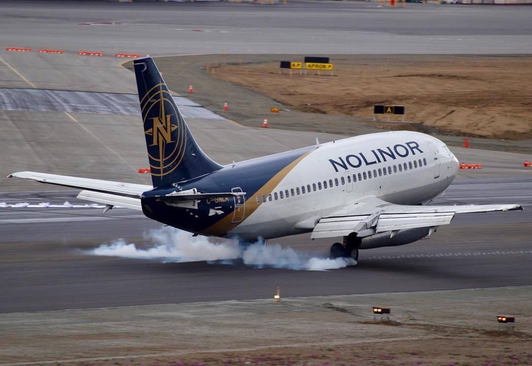 Nolinor Boeing 737-200 touching down in Iqaluit.