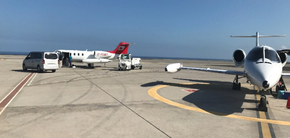 Learjet air ambulances from Fox Flight and Awesome Air Evac meet on the tarmac in Tenerife in the Canary Islands to transfer a high-risk patient bound for Kansas City. Fox Flight Photo