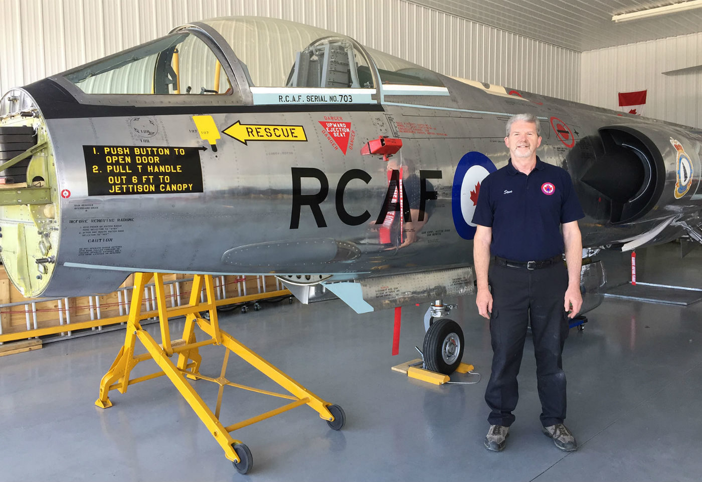 Steve Pajot, curator of the Canadian Starfighter Museum at St. Andrews Airport, located about 25 kilometres north of Winnipeg, Man., stands beside his nearly completed six-year renewal project: a CF-104 Super Starfighter jet aircraft.