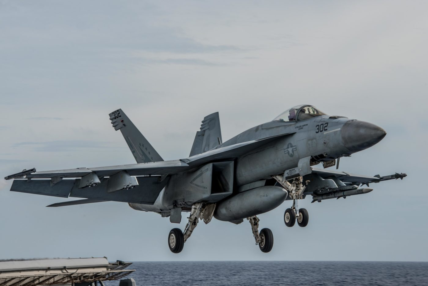 An F/A-18E Super Hornet launches from the flight deck of the aircraft carrier USS Ronald Reagan in 2016.