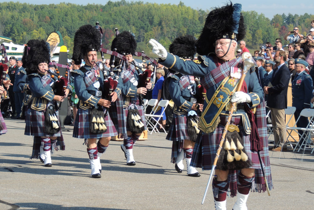 Pipe band marches and plays