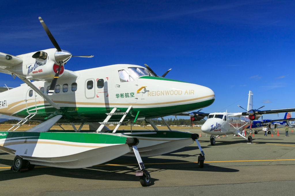 Twin Otter in white and green livery, with Chinese characters on the cockpit door.