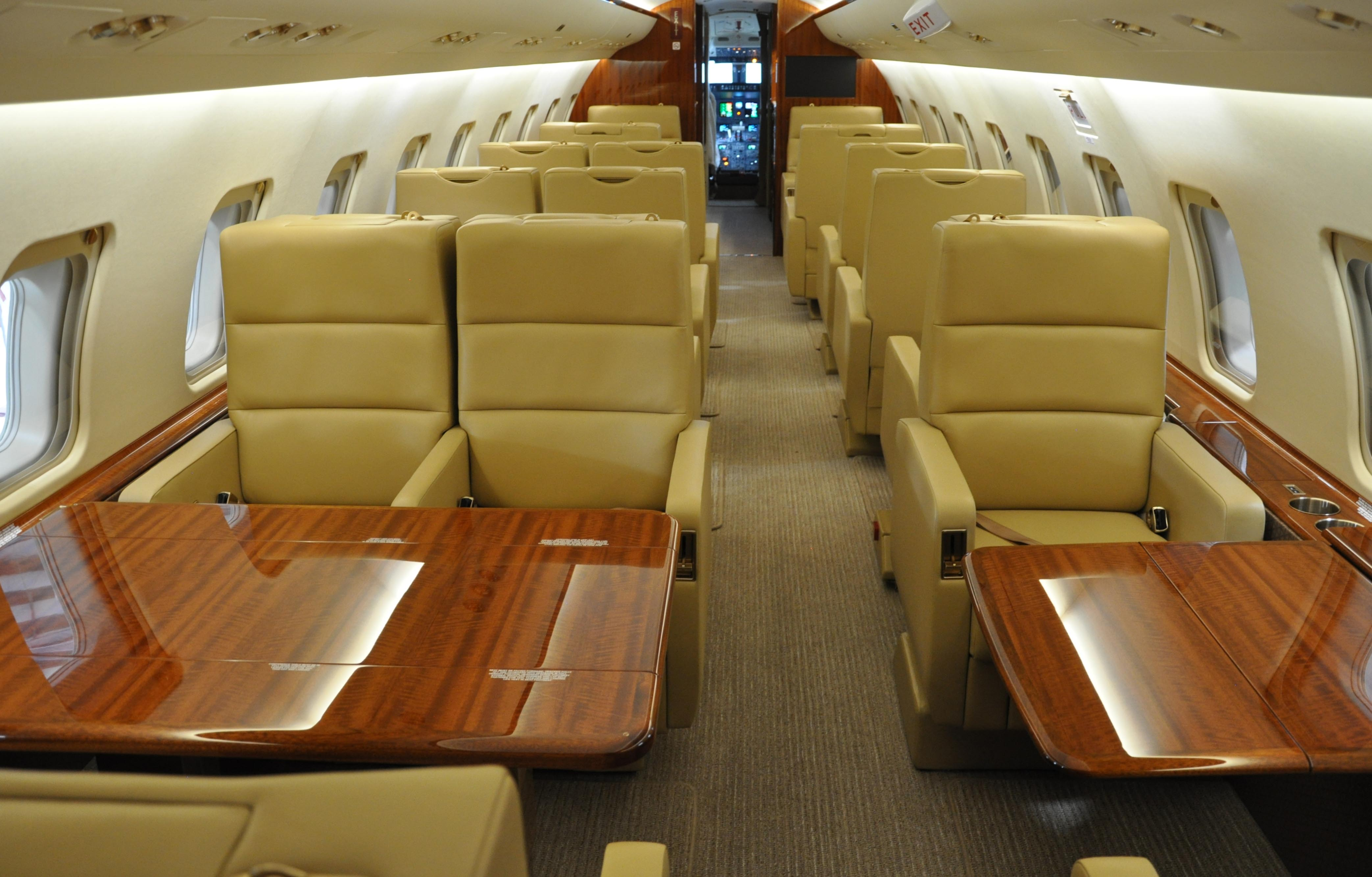 Photo of aircraft cabin.