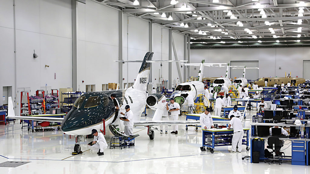 HondaJets in production on assembly line.