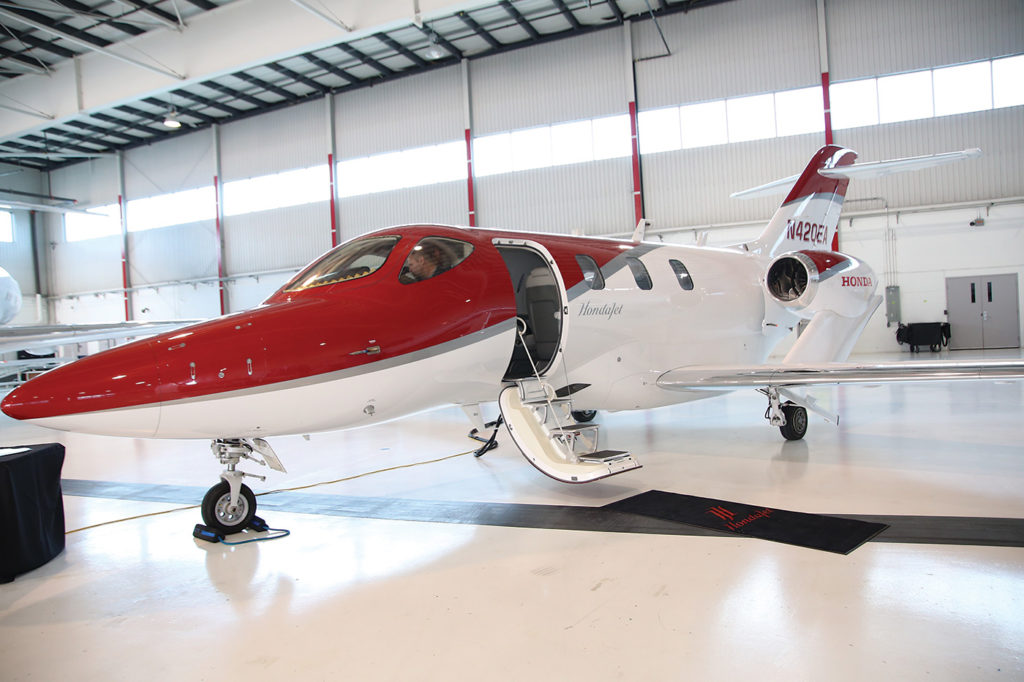 A HondaJet rests in the Skyservice hangar.