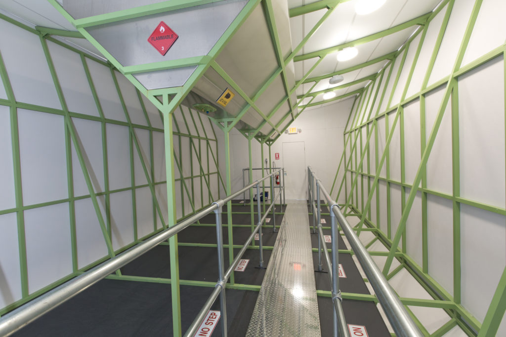 A view inside the cargo bay of the LMH-1 airship
