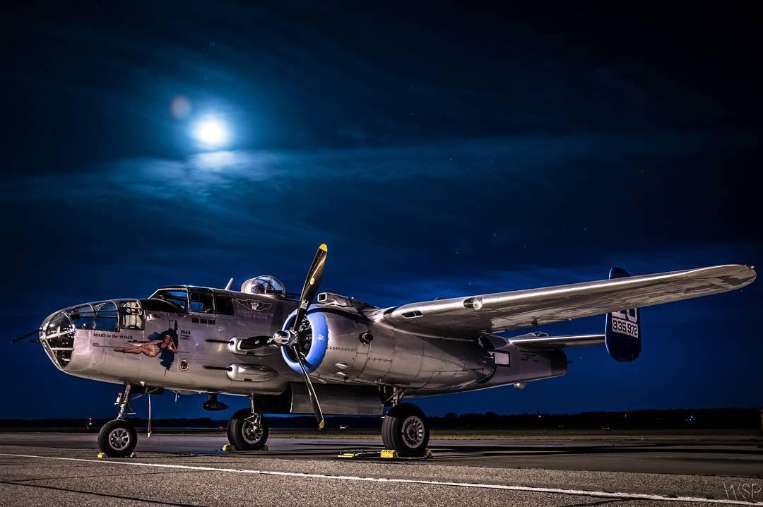 A B-25 Mitchell bomber, under moonlight. Photo submitted by William Scott Pugh (Instagram user @willspugh) using #skiesmag