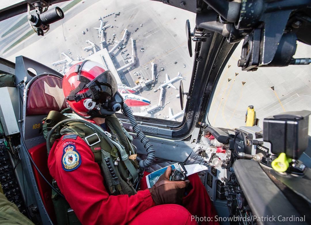 Snowbird pilot in cockpit
