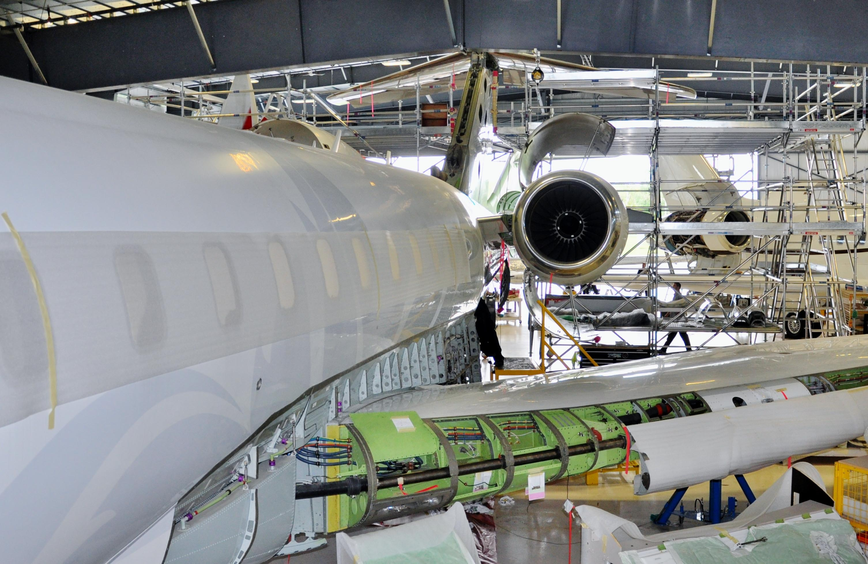 Bombardier Global jet sits in hanger